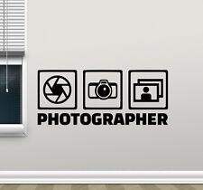 Photographer Wall Decal Photo Studio Vinyl Sticker Camera Decor Poster 100hor