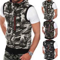 Men's Muscle Hoodie Tank Top Bodybuilding Gym Workout Sleeveless Vest T Shirt