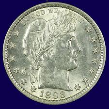 Barber Silver Quarter Dollar,1893 P Choice BU MS PQ Lot # 9010-90-0002
