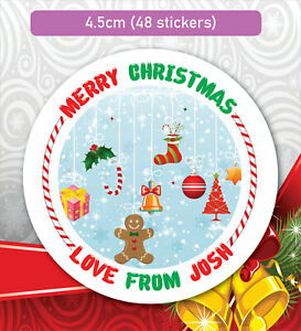 48 Christmas Party Bag Stickers Sweet cone Labels Xmas Personalised