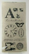 Stampington J6223 'TIME' Lovely Face Angel Butterfly Postmark 9 Acrylic Stamps