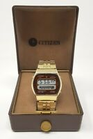Orologio Citizen 40-4080 watch lcd gold chrono digital clock reloy rare box used