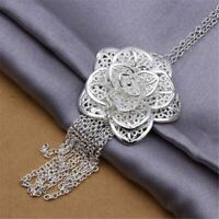 *UK Shop* 925 SILVER PLT LARGE ROSE FLOWER WITH CHAIN TRAIL PENDANT NECKLACE BIG