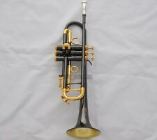 2018 Professional Black Nickel Gold bell Trumpet Horn Turquoise Key Monel W/Case