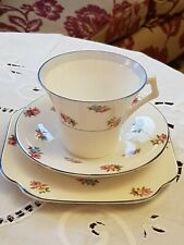 Vintage Colclough Ditsy Rose Art Deco Trio - Cup, Saucer & Sideplate