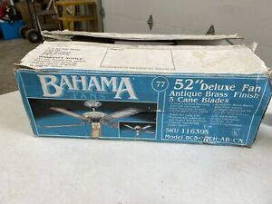 """Vintage Bahama 52"""" Deluxe Fan Antique Brass Finish 5 Cane Blades NEW OPEN BOX"""