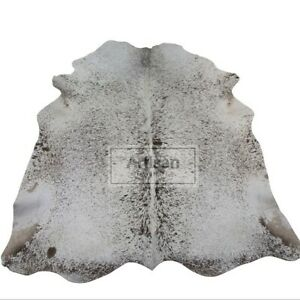 """Brown & White Speckled COWHIDE RUG - Size: XXLarge 8'x6'5"""" - XL 7 'x 6'5"""" Ft - P"""