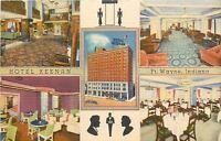 Fort Wayne~Hotel Keenan~Silhouettes~Interior Views: Lobby-Dining 1936 Postcard
