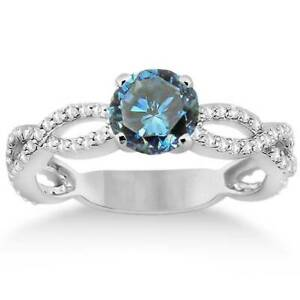 7/8ct Treated Blue Diamond Infinity Engagement Ring 14K White Gold Solitaire