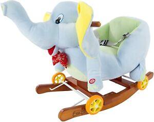 Rocking Horse Plush Animal Elephant 2-in-1 Wooden Rockers & Wheels Seat