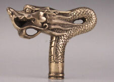 COLLECTABLE OLD BRASS DRAGON STATUE CANE WALKING STICK HEAD HANDLE CHINESE MYTH