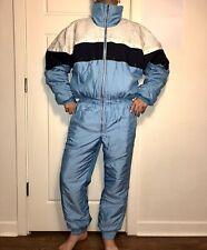 Vtg 80s Shiny Blue MENS MEDIUM One Piece SKI SUIT Snow Bib Retro Onsie Snowsuit