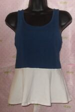EXPRESS PEPLUM TANK BLOUSE SIZE S/P BLUE WHITE $52 STRAP ZIPPER BACK TOP