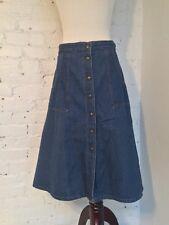 VTG 70s Zayre's Cotton Denim A-Line Skirt Knee Length Blue Snap Front size 12