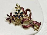 Vintage Monet Rhinestone Brooch Pin Floral Gold Tone Red Enamel Multicolor Retro