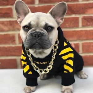 Pet Dog Clothes for French Bulldog Stripe Pattern Dog Hoodie Clothes Dog Jacket