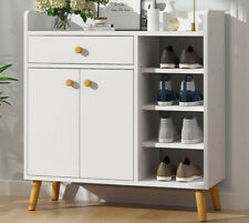 Wooden Shoe storage Cabinet with Drawer 2 Doors Side Shelving Storage Rack