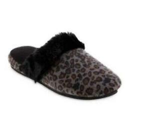 ISOTONER Women's Pippa Ash Gray Cheetah Velour Scuff Slippers Sturdy Sole L 8-9