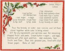 VINTAGE DARK FRUIT CAKE W/ BRANDY RECIPE 1 HARD THE HERALD ANGELS SING CARD