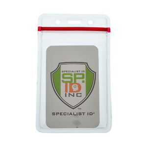 Heavy Duty Clear Vinyl ID Badge Holder with Resealable Zip-Lock Top - Vertical
