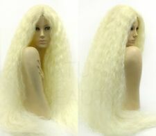 "Blonde Curly Kinky Very Long Wig 40"" Heat Resistant Middle Lace Part"