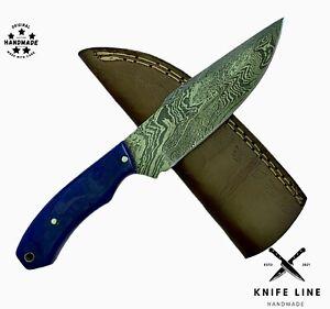 CUSTOM HAND MADE DAMASCUS STEEL BLADE HUNTING SKINNING KNIFE