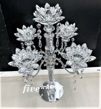 CANDLE HOLDER Crushed 5 Flower Diamond Silver Crystals Filled Romany Candelier