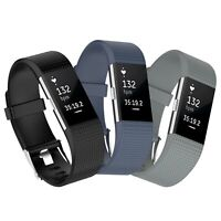 3x Ersatz Armband für Fitbit Charge 2 Fitness Tracker Schwarz-Dunkelgrau-Grau
