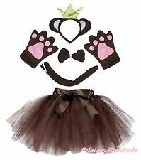 Halloween Party Adult Crown Brown Monkey Ape Headband Paw Tail Bow Skirt Costume