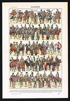1922 Military French Cavalry Uniforms from Ancient Times to WWI - Antique Print