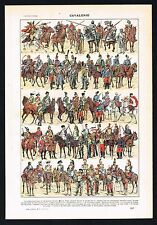 1922 French Cavalry Uniforms Ancient Times to WWI Military - Vintage Print