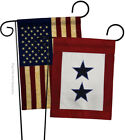 Two Blue Star Service Americana Military Applique USA Vintage Garden Flags Pack