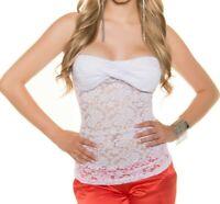 TOP BLANC débardeur femme brodé dentelle bandeau veste voilée t-shirt tops AZ67
