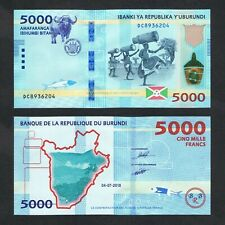 2018/2019 BURUNDI 5,000 5000 FRANCS P-53 UNC> > >BUFFALO ARMS FLAG DANCERS DRUMS