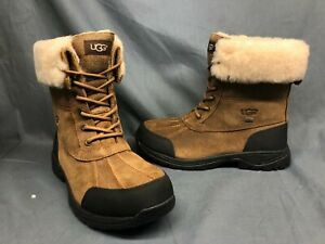 UGG Men's Butte Bomber Winter Boots Waterproof Chestnut Black Size 9 NWOB!