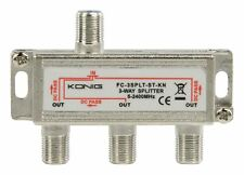 Konig 3 Way F-Splitter 2250Mhz (POWER PASS ALL PORTS) Nickel plated