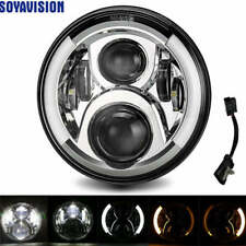 "7"" LED Halo Headlight with DRL Turn Signal Harley Street Glide Softail FLHX FLD"