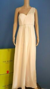 TED BAKER YENNY NUDE PINK SILK ONE SHOULDER MAXI DRESS RRP £318 UK 12 TED 3 US 8