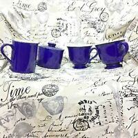 Gibson Cobalt Blue Lot Creamer Sugar Bowl with Lid Cups Contemporary Dinnerware