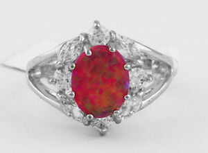 GENUINE PINK OPAL & WHITE SAPPHIRE RING Silver Plated * NEW WITH TAG * Size 6