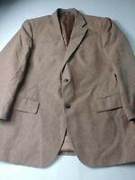 Stafford Mens Sport Coat Size 42R Brown 2 Button Side Vents Linen Cotton Blend