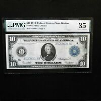 1914  $10 Federal Reserve Note Boston, Fr # 907a, PMG 35 Choice VF, White/Mellon