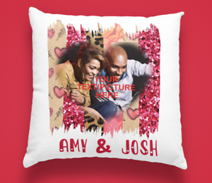"""Personalised Valentines Photo Cushion Cover, red heart shape 16""""x16"""""""