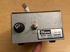 Vintage OLSON Magnetic Bulk Tape Eraser Model TA-147 asst reel sizes 1960's
