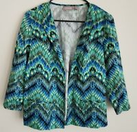 Chicos Womens Jacket Blazer Size 1 Green Blue Chevron Open Front 3/4 Sleeve