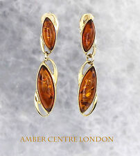 Exquisite Baltic Amber in Italian Designed 9ct Gold Earrings RRP£200!!!- GE0102