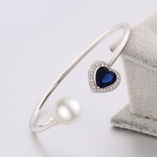 18K White Gold Filled Love Heart Bracelet Sapphire & Pearl Charms Cuff Bangle