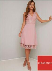Chi Chi London Lauria Lace V Neck Top Midi Dress - Mink Size 14