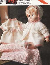 """# 142 BAMBOLA PREM Baby Girl h18-20 """"DK CAPPOTTO ABITO CAPPELLO SCARPE sciallato knitting pattern"""
