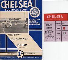 PROGRAMME FOOTBALL CLUB CHELSEA SAISON 1967 / 1968 + TICKET CHELSEA Vs FULHAM